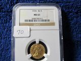 1926 $2.50 INDIAN HEAD GOLD PIECE NGC MS61