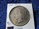1921 PEACE DOLLAR AU+