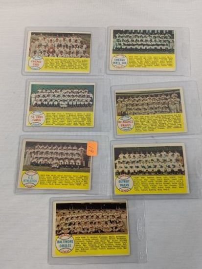 1958 Topps Team Card lot: #174, 216, 256, 327, 397, 377, 408