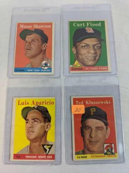 1958 Topps Star lot: Ted Kluszweski, Aparicio, Flood, Skowron