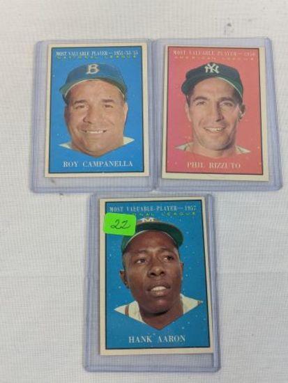 1958 Topps ( Aaron, Campanella, Rizzuto) Aaron card has ink marks
