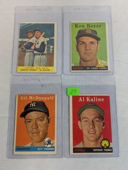 1958 Topps lot: Kaline, McDougal, Boyer & card #304,