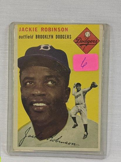 Jackie Robinson '54 Topps, gum stain on back
