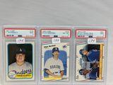 (3) PSA Graded Baseball Cards - Valenzuela, Martinez & Grace