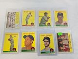 1958 Topps Indian lot: Team card plus cards # 22, 55, 79, 102, 233, 386, 462 (team card has gum on b