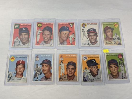 1954 Topps baseball lot of 10, Excellent