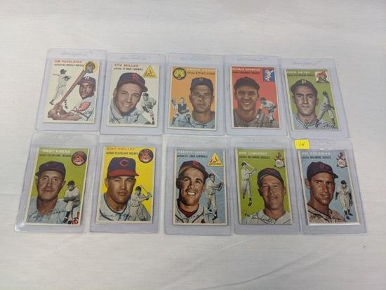 1954 Topps baseball lot of 10, EX