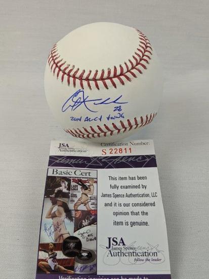 Corey Kluber signed CY Young MLB basball, JSA
