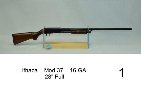 "Ithaca    Mod 37    16 GA    28"" Full    SN: 339674    Gun was refinished    Condition: 80% Refinish"