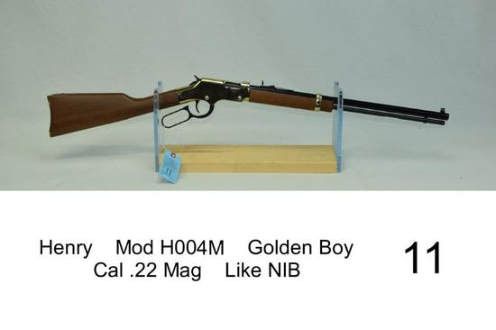 Henry    Mod H004M    Golden Boy    Cal .22 Mag    SN: GB111641M    Condition: Like NIB