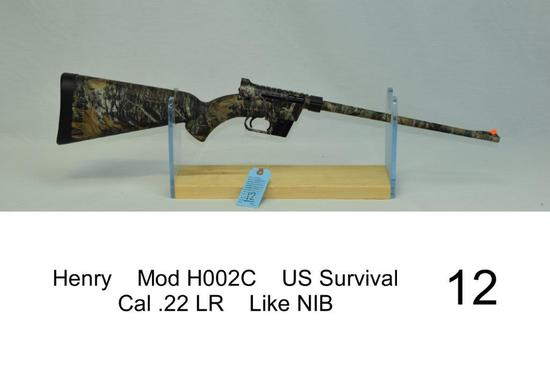 Henry    Mod H002C    US Survival    Cal .22 LR    SN: US015278C    Condition: Like NIB