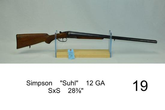 "Simpson    ""Suhl""    12 GA    SxS    28?""    SN: 243101    Condition: 75%"