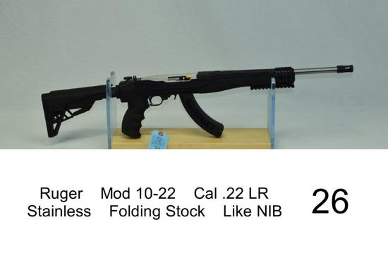 Ruger    Mod 10-22    Cal .22 LR    Stainless    Folding Stock    SN: 0008-90335    Condition: Like