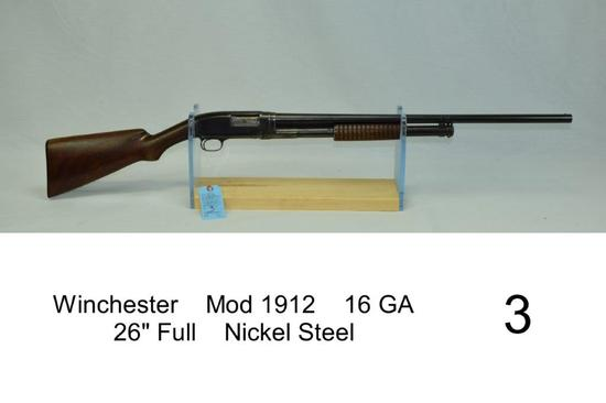 "Winchester    Mod 1912    16 GA    26"" Full    Nickel Steel    SN: 195115    Condition: 30%"