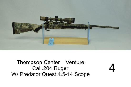 Thompson Center    Venture    Cal .204 Ruger    SN: U209628    W/ Predator Quest 4.5-14 Scope    Cam
