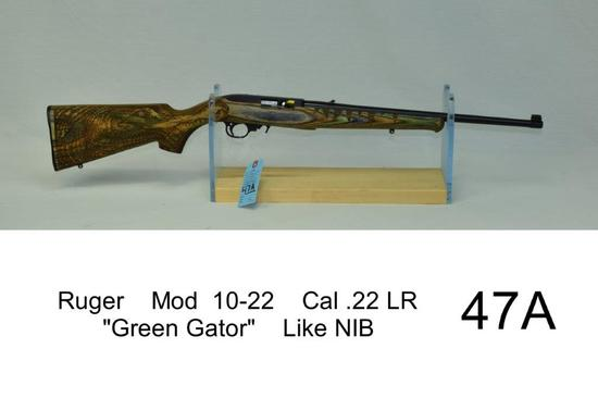 "Ruger    Mod  10-22    Cal .22 LR    ""Green Gator""    SN: 0011-49095    Condition: Like NIB"