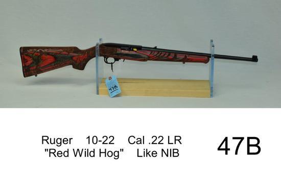 "Ruger    10-22    Cal .22 LR    ""Red Wild Hog""    SN: 0012-62525    Condition: Like NIB"