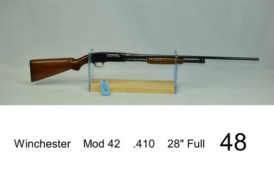 """Winchester    Mod 42    .410    28"""" Full    SN: 1368    """"Gun was refinished""""    Condition: 50%"""