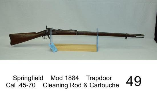 Springfield    Mod 1884    Trapdoor    Cal .45-70    SN: 298225    Cleaning Rod & Cartouche    Carto
