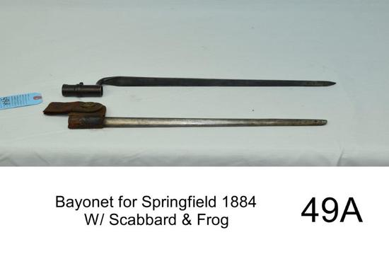 """Bayonet for Springfield 1884    W/ Scabbard & Frog    """"Appears Original""""    Condition: Good"""