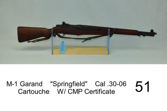 """M-1 Garand    """"Springfield""""    Cal .30-06    SN: 5862329    Cartouche    W/ CMP Certificate    Condi"""