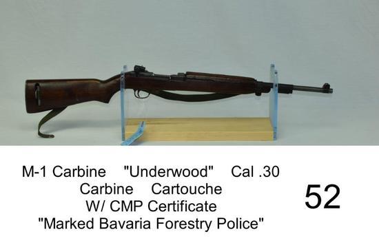 """M-1 Carbine    """"Underwood""""    Cal .30 Carbine    SN: 2574183    Cartouche    W/ CMP Certificate    """""""