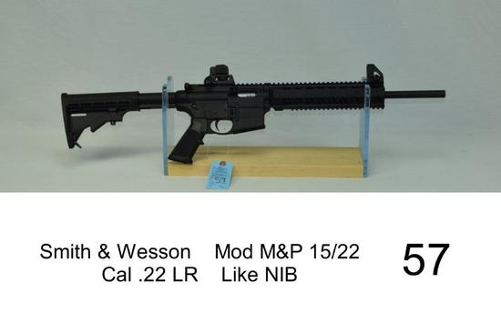 Smith & Wesson    Mod M&P 15/22    Cal .22 LR    SN: HBT-6681    Condition: Like NIB