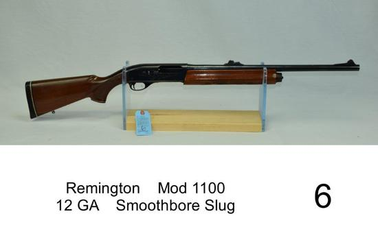 "Remington    Mod 1100    12 GA    Smoothbore Slug    SN: M11508V    ""Tapped for scope base""    Condi"