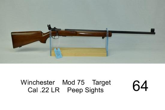 Winchester    Mod 75    Target    Cal .22 LR    Peep Sights    SN: 8531    Condition: 85%