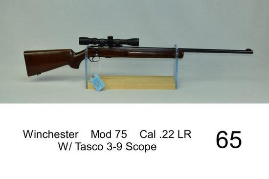 Winchester    Mod 75    Cal .22 LR    SN: 17290    W/ Tasco 3-9 Scope    Condition: 70%