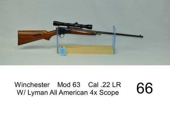 Winchester    Mod 63    Cal .22 LR    W/ Lyman All American 4x Scope    SN: 44540    Stock was refin
