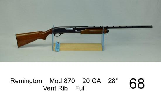 "Remington    Mod 870    20 GA    28""    Vent Rib    Full    SN: 785951X    Condition: 50%"