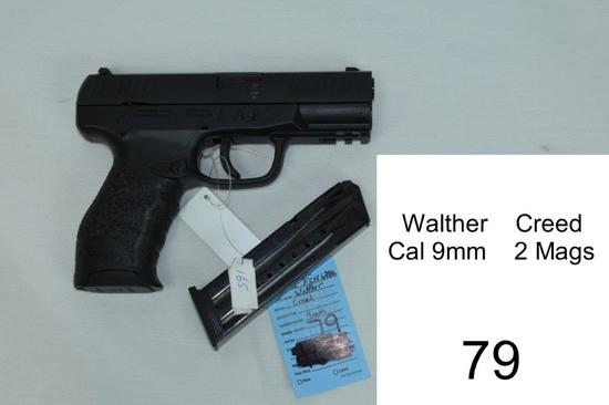 Walther    Creed    Cal 9mm    SN: DEFCH6886    2 Mags    Condition: 90%