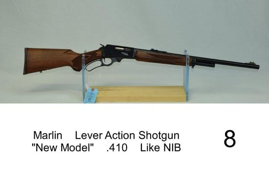 "Marlin    Lever Action Shotgun    ""New Model""    .410    SN: 92049545    Condition: Like NIB"