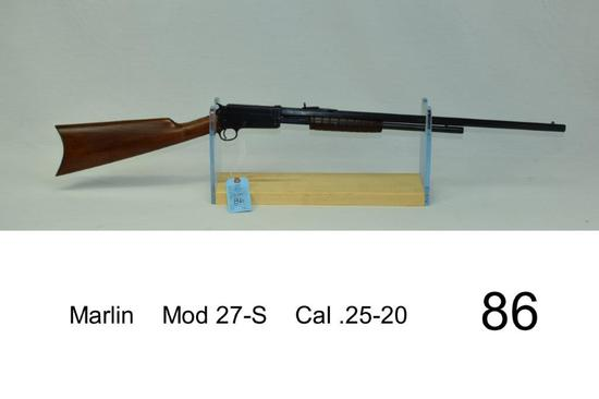 Marlin    Mod 27-S    Cal .25-20    SN: 291    Some rust on barrel    Gun was refinished    Conditio