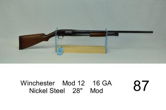 "Winchester    Mod 12    16 GA    Nickel Steel    28""    Mod    SN: 502842    Condition: 30%"