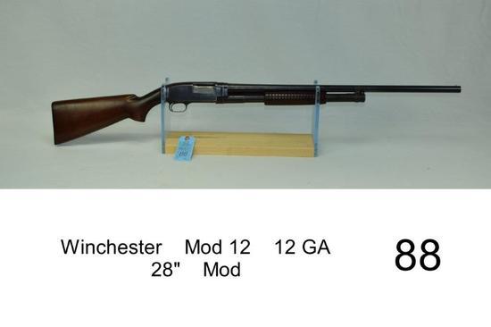 "Winchester    Mod 12    12 GA    28""    Mod    SN: 860169    Condition: 35%"