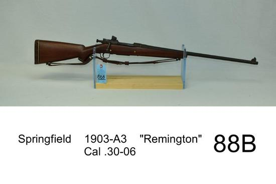 "Springfield    1903-A3    ""Remington""    Cal .30-06    SN: 3487616    ""Sporterized""    Condition: 40"