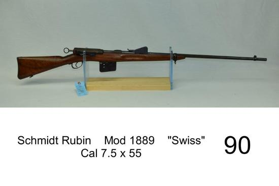 "Schmidt Rubin    Mod 1889    ""Swiss""    Cal 7.5 x 55    SN: 29061    Sporterized    Condition: 30%"