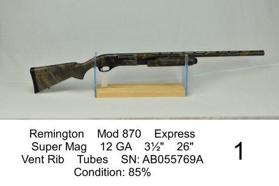 "Remington    Mod 870    Express    Super Mag    12 GA    3½""    26""    Vent Rib    Tubes    SN: AB05"