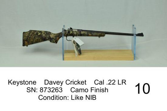 Keystone    Davey Cricket    Cal .22 LR    SN: 873263    Camo Finish    Condition: Like NIB