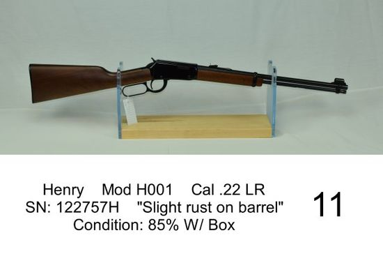 "Henry    Mod H001    Cal .22 LR    SN: 122757H    ""Slight rust on barrel""    Condition: 85% W/ Box"