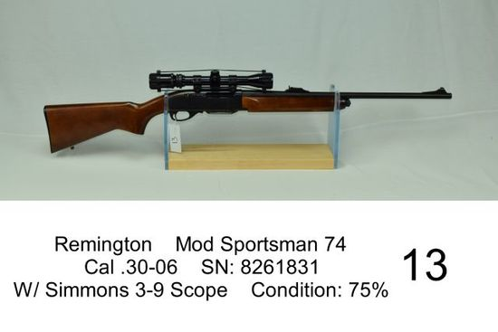 Remington    Mod Sportsman 74    Cal .30-06    SN: 8261831    W/ Simmons 3-9 Scope    Condition: 75%
