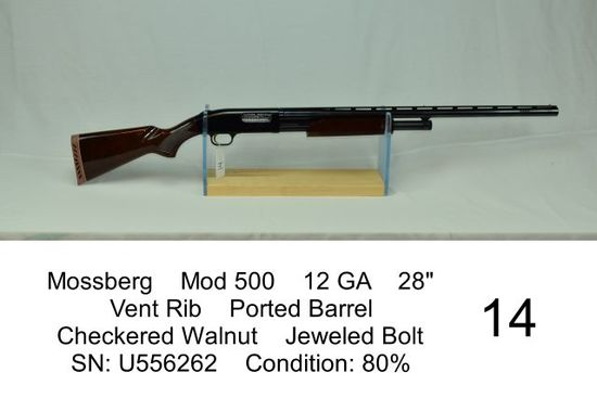 "Mossberg    Mod 500    12 GA    28""    Vent Rib    Ported Barrel    Checkered Walnut    Jeweled Bolt"
