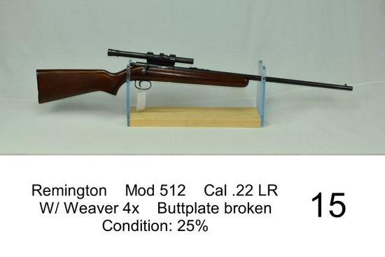 Remington    Mod 512    Cal .22 LR    W/ Weaver 4x    Buttplate broken    Condition: 25%