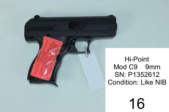 Hi-Point    Mod C9    9mm    SN: P1352612    Condition: Like NIB