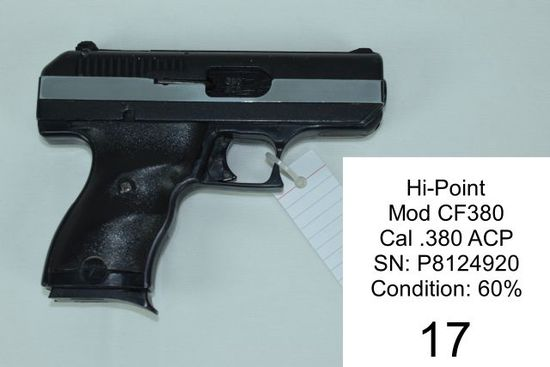Hi-Point    Mod CF380    Cal .380 ACP    SN: P8124920    Condition: 60%