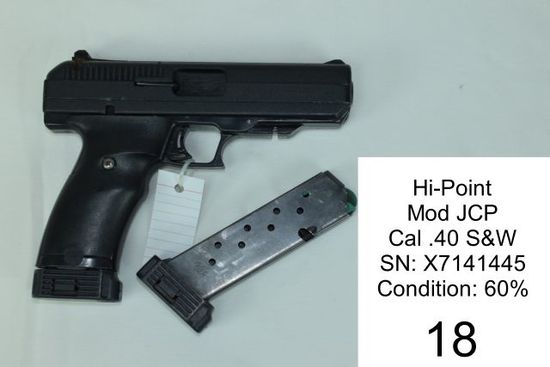 Hi-Point    Mod JCP    Cal .40 S&W    SN: X7141445    Condition: 60%