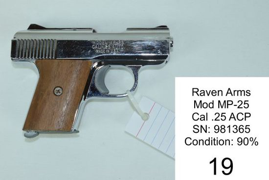 Raven Arms    Mod MP-25    Cal .25 ACP    SN: 981365    Condition: 90%