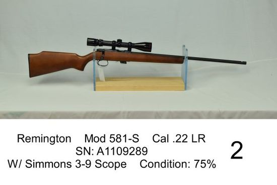 Remington    Mod 581-S    Cal .22 LR    SN: A1109289    W/ Simmons 3-9 Scope    Condition: 75%